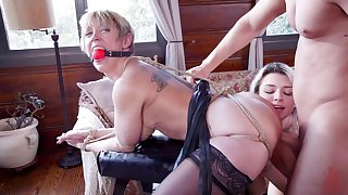 Gagged mommy endures harsh bondage sex along side will not hear of step sister