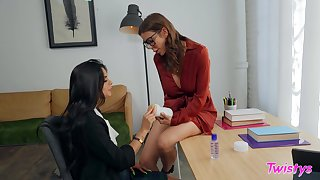 Nerdy girl is in be incumbent on a spicy lesbian treat helter-skelter the older woman