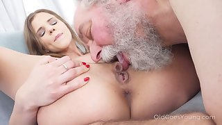 Bearded dude is fond of the way fresh beauty rides his still strong cock