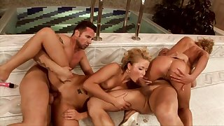 Dirty females cock swapping in crazy foursome scenes