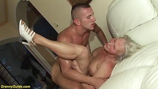 horny 76 years superannuated granny gives a wikd tit fuck added to extreme deepthroat for her young toyboy