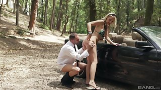 Outdoor anal more the forest for the skinny young beauteous