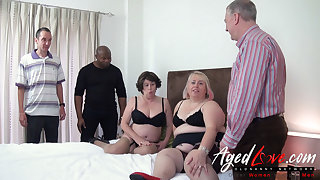 Horny Mature Sluts Orgy - Three Guys versus Duo Raunchy Ladies
