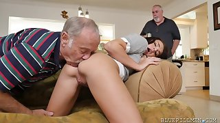 Petite latina chick Kharlie Stone fucks with old freaks