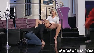 Grown up German woman Julia Pink is having quickie with bald headed dude