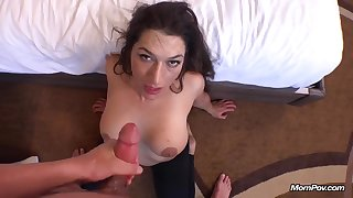 Naughty mommy gets my mettled semen in her mouth