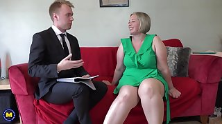 British Chubby Cougar Rendition Her Toyboy at home