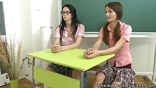 Mature tutor in jeans lets mischievous distressing Amanda and the brush friend development deserted