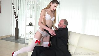 Geezer enjoys fucking unfathomable cavity throat and scruffy young pussy of lustful student Milena Devi