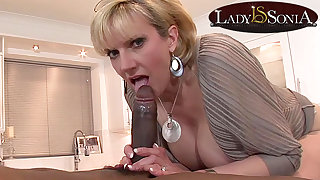 Mommy Lady Sonia gets a mouthful of big black male stick