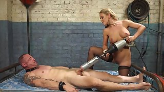 Cherie DeVille straps a dildo gag on him and uses his exposure to put someone down