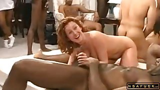 Wild amateur MILF babes in interracial orgy with black studs