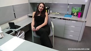 Quick handjob in the office by mature brunette penman Kaylynn