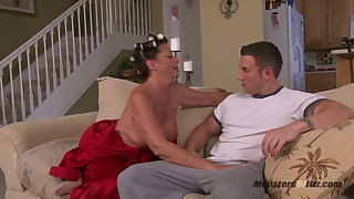 Big Tit Milf Sucks Cock in Curlers