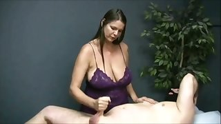Turned me on watching turn this way buxom masseuse jack off her client on camera